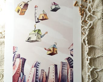 """Flying houses - Watercolour illustration, from the """"Little houses"""" series, by Elisa Ansuini"""