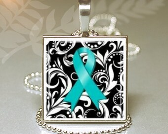 Silver Square Necklace  Keyring Ovarian Cancer Awareness