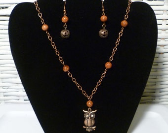 Handmade Copper Owl and Pumpkins Necklace and Earring Set