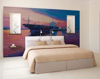 Ship painting wall mural, self adhesive, photo wallpaper, wall decal, wall covering