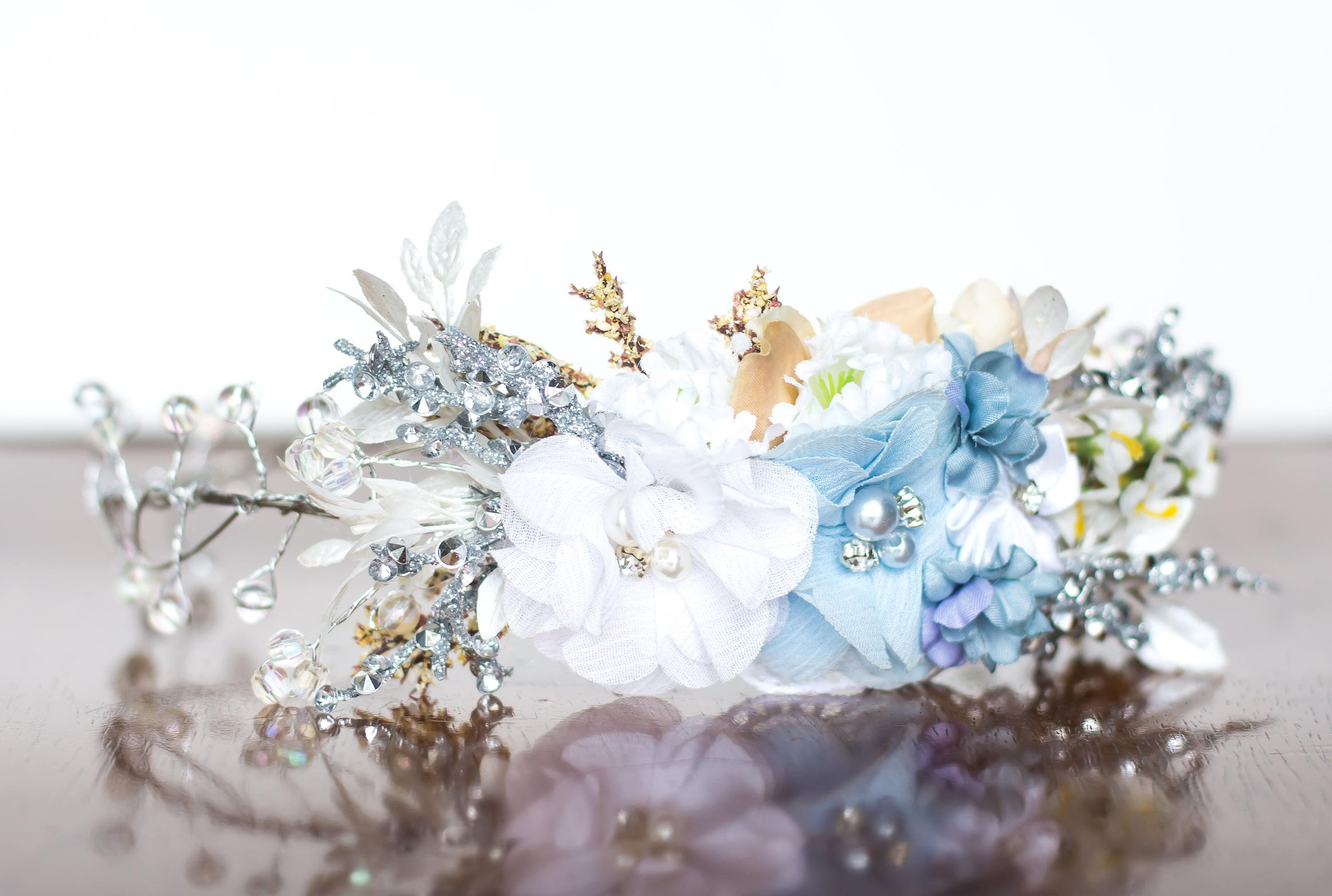 Flower Crown in Blue and Silver Wire Floral Crown Baby
