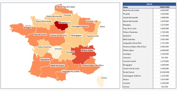 Provinces de France géographique chaleur générateur de carte