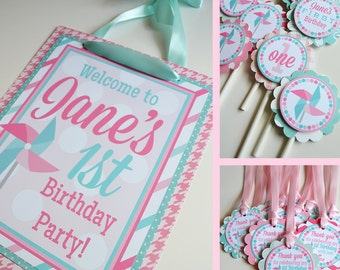 Pinwheel Birthday Party Decorations Package Fully Assembled