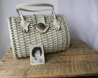 White Wicker Purse - Vintage Basket Purse Made for Decor Basket Co 5th Ave NYC