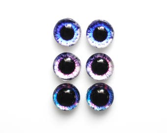 Set of 3 pairs 12mm handmade glass eye cabochons - Purple / blue eyes -  HEMISPHERICAL / high dome