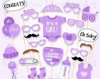 Printable Baby Shower Photo Props   Baby Shower PhotoBooth Props    Printable Purple Baby Shower Photo