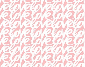 1/2 Yard Love Story by Webster's Pages for Riley Blake Designs- 7073 Pink Words