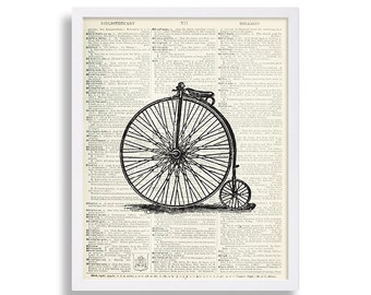 Bicycle Print Dictionary Page Art Print Bike Art Print Living Room Decor Decorative Wall Art Original Artwork Vintage Bike Classic Hipster