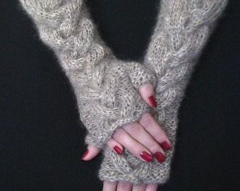 Fingerless Gloves Knit  Light Brown/ Beige Cabled Wrist Warmers, Extra Soft, Long and Warm