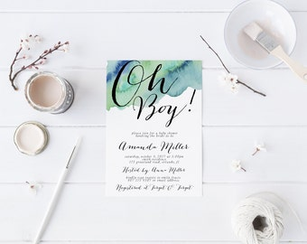 Oh Boy Blue Green Watercolor Baby Shower Invitation Modern Invitation Printable Baby Shower Invitation Calligraphy Invitation boy oh boy