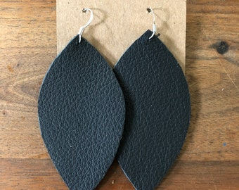 Handmade One of a kind leather leaf earrings