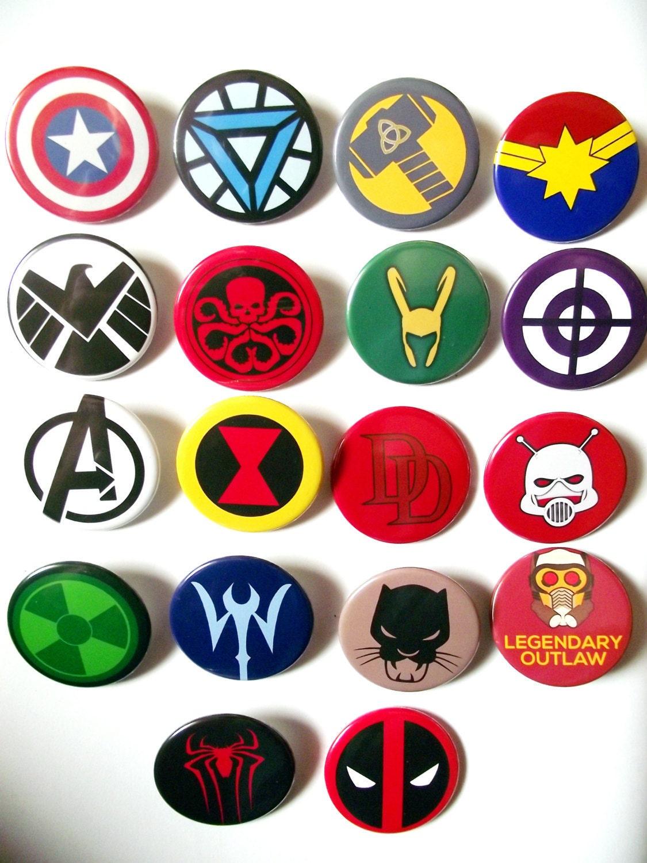 Marvel badges heroes and villainsavengers badges x18 zoom biocorpaavc