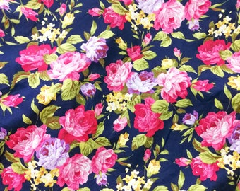 Quilt Cotton Fabric Chic Retro English Floral Pink Rose Navy Blue Fat Quarter Half Yard