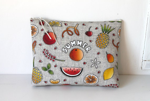 """Large illustrated pouch """"Summer fruits"""""""