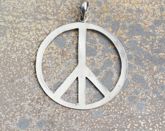 Peace sign pendant etsy peace sign pendant large round handmade sterling silver peace sign pendant for necklaces hippie gypsy jewelry audiocablefo