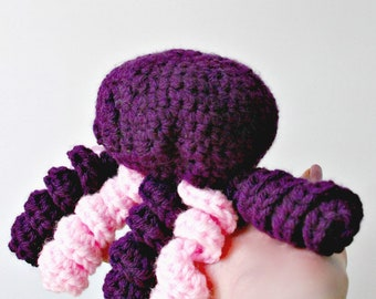 Crochet Cat Toy Jellyfish Purple and Pink for Big Cats