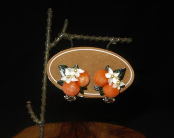 Orange Fruit and Blossom Clip-On Earrings, Hand Painted Sea Shells, Vintage 50s