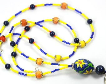 SPRING TIME - Beaded Badge Holder, Beaded lanyard, Blue and Yellow Lanyard