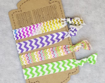 Creaseless Elastic Hair Ties, Hair Tie Bracelets, BridesMaid Gifts, Party Favors, Chevron, Foil, Multi-Colored Set of 4