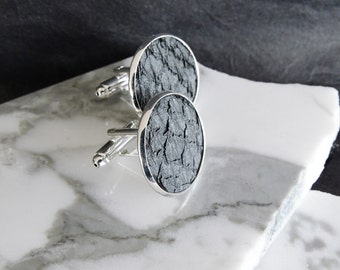 Festive wedding cuff links, metallic grey salmon leather cuff links, engagement cuff links,