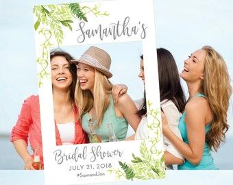 Bridal Shower Photo Prop - Greenery Prop - Photo Prop Frame - Wedding Photo Prop - Digital File Selfie Frame - Greenery Shower - The Willow