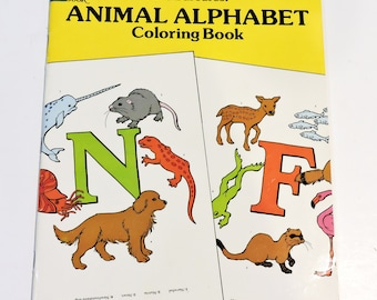 Animal Alphabet Dover Coloring Book by Nina Barbaresi, Vintage 1991 Used Childrens Quiet Entertainment Educational Book itsyourcountry