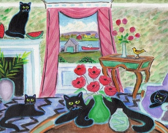ORIGINAL PAINTING, 4 Black Cats with Poppies and Folk Art Goldfinch by the Cove, D M Laughlin