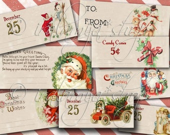 CHRISTMAS TIME TIcKETS Collage Digital Images -printable download file-