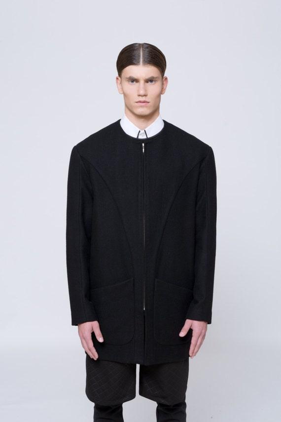 Mens Coat Mens Wool Coat Mens Black Coat Mens Long Coat Mens Winter Coat  Mens Overcoat Minimalist clothing Mens raincoat Mens Jacket For men
