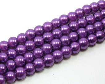 Set of 25 6 mm Pearly purple glass beads