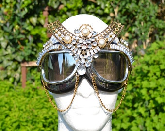 Bespoke limited edition festival goggles with sleek silver gemstones