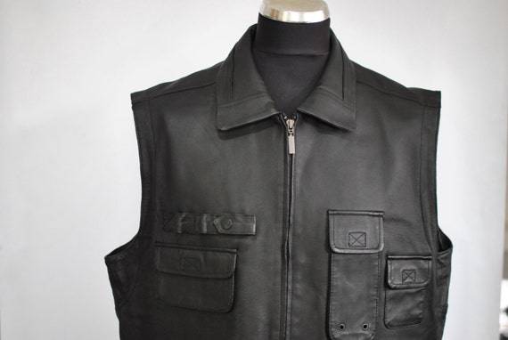 Vintage MEN'S LEATHER and CANVAS vest .............(074) 7GqynoS