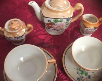 Vintage Childs Porcelain Tea Set - incomplete