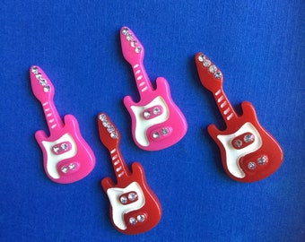 Kawaii girly guitar cabochon decoden deco diy charm  4 pcs--US seller