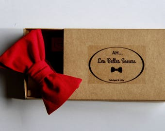 Bow tie fabric cotton red Charles