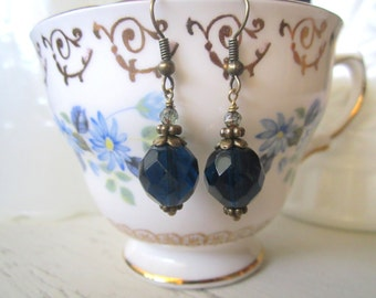 Cobalt Blue Czech Glass and Antique Brass Earrings