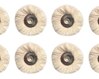 "Pack of 12 - 7/8"" Jewelry Making Metal Rotary Polishers Muslin Polishing Buff Mops w/ 3/32"" Shanks - BUF-570.10"