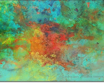 Original Encaustic Abstract Fire with Turquoise, Rust Red, Aquatic Surreal