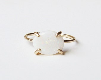 White Opal Gold Ring