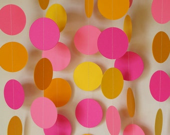 Pink and Yellow Girl's Birthday Party Decoration, Paper Garland, Baby's 1st Birthday, Mother's Day, 10 ft. long