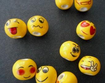 12pcs-Assorted NEW yellow Emoticon Beads,Porcelain/Ceramics Emoji Beads