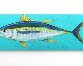 Fathers Day Fishing Gifts for Men, Wife to Husband Gifts, for Dad, Gifts from Daughter, Yellowfin Tuna Art Block, Gift for Him