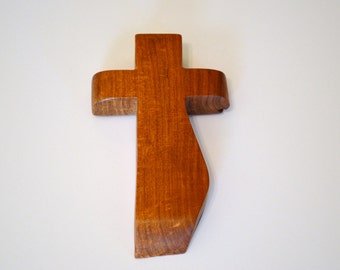 """Wood Wall Cross; Hand Held-4""""x7""""x1""""; Handmade Crooked Cross;Made in Texas; Mesquite Wood; Christian Gift; Free Ground Shipping; cc15-9010417"""