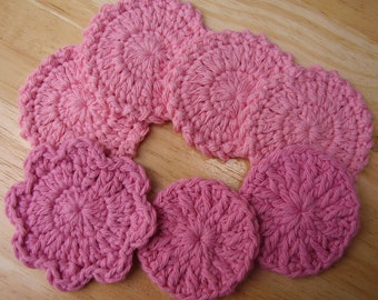 7 Pink Facial Scrubbies,  All Pink Scrubbies Sampler, 100% Cotton