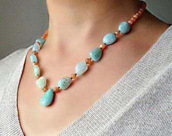 Aquamarine and peach Moonstone necklace. Natural blue green aquamarine necklace. Peach Moonstone jewelry.