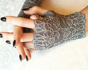 Lace Gloves in Gray. Stretch lace, fingerless lace gloves.