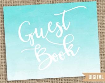Guest Book Watercolor Wedding Sign, Watercolor Wedding Sign, Guest Book Wedding Printable, Wedding Sign Printable, Guest Book Table Sign