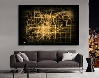 JOPLIN Missouri Night Lights Map Large Horizontal Wall Art Map Joplin MO Modern Art Neon City Street Map of Joplin NLM