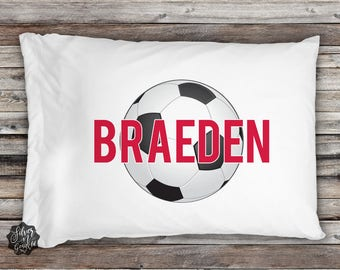 Soccer Pillowcase, Sports Pillowcase, Pillowcase, Sports Bedding, Boys Pillowcase, Personalized Pillow, Toddler Pillowcase, Soccer Gift, Boy