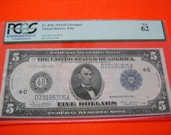 1914 US 5 Dollar FR 859C Cleveland Federal Reserve Note Graded New 62 by PCGS Vintage Antique United States Currency Collectible Paper Money